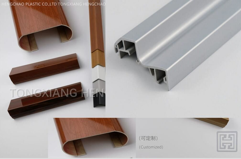 L Type Wooden Laminated Extruded Pvc Profiles For Ceiling Panel Connection